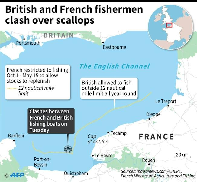 Map of the English Channel locating where British and French fishing boats clashed over scallops