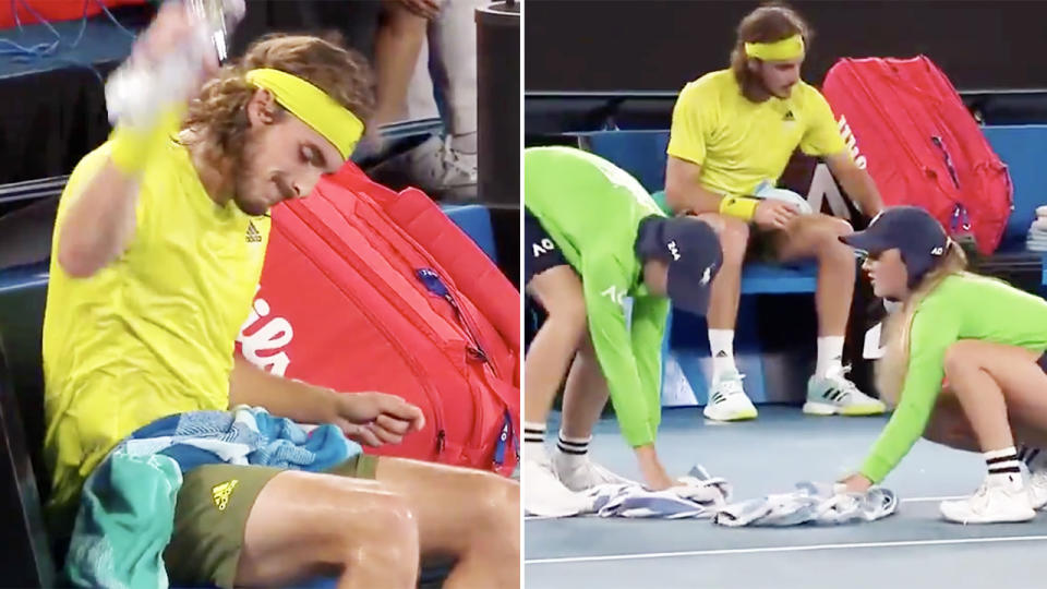 Stefanos Tsitsipas, pictured here watching on as ball kids cleaned up his mess.