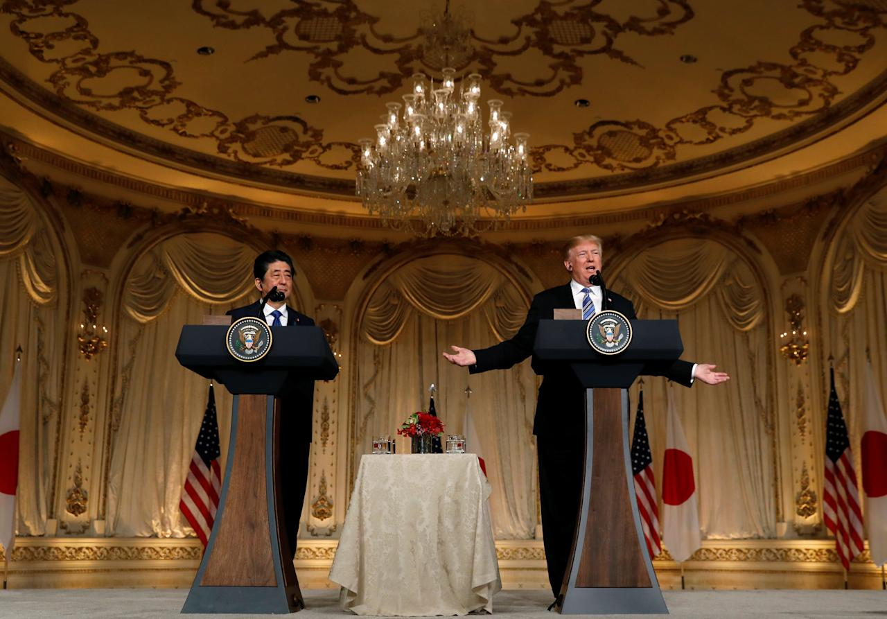 U.S. President Donald Trump speaks as he hosts a joint news conference with Japan's Prime Minister Shinzo Abe at Trump's Mar-a-Lago estate in Palm Beach, Florida, U.S., April 18, 2018. REUTERS/Kevin Lamarque
