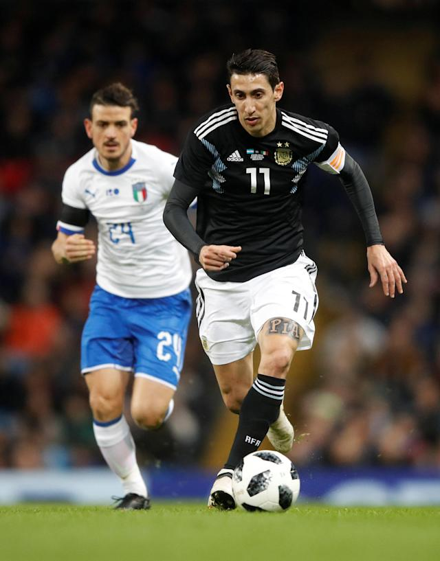 Soccer Football - International Friendly - Italy vs Argentina - Etihad Stadium, Manchester, Britain - March 23, 2018 Argentina's Angel Di Maria in action Action Images via Reuters/Carl Recine