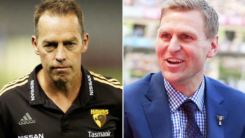 Alastair Clarkson and Kane Cornes, pictured here on the AFL field.