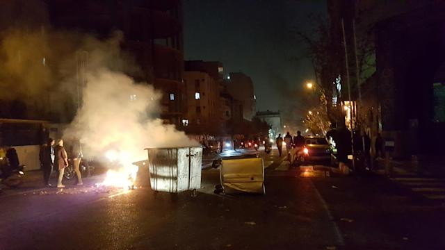 <p>People protest in Tehran, Iran, Dec. 30, 2017 in this picture obtained from social media. (Video still: Reuters) </p>