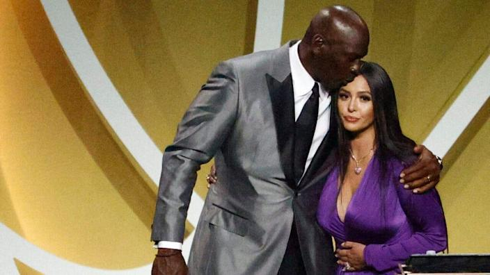 Vanessa Bryant is greeted by presenter Michael Jordan after speaking on behalf of Class of 2020 inductee, Kobe Bryant during the 2021 Basketball Hall of Fame Enshrinement Ceremony at Mohegan Sun Arena on May 15, 2021 in Uncasville, Connecticut. (Photo by Maddie Meyer/Getty Images)