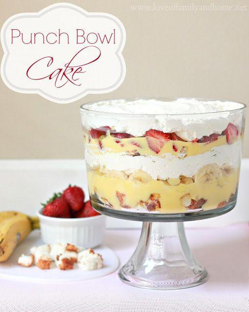 """<p>This tropical layer cake can be made in a punch or trifle bowl.</p><p>Get the recipe from <a href=""""http://loveoffamilyandhome.net/2013/06/punch-bowl-cake-recipe.html"""" rel=""""nofollow noopener"""" target=""""_blank"""" data-ylk=""""slk:Love of Family and Home"""" class=""""link rapid-noclick-resp"""">Love of Family and Home</a>.</p>"""