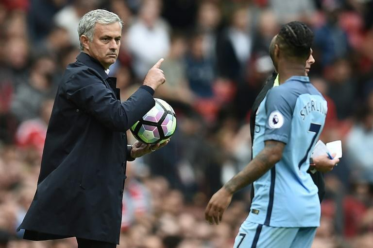 Jose Mourinho (left)has questioned the severity of the injury that saw Raheem Sterling (right) withdraw from the England squad