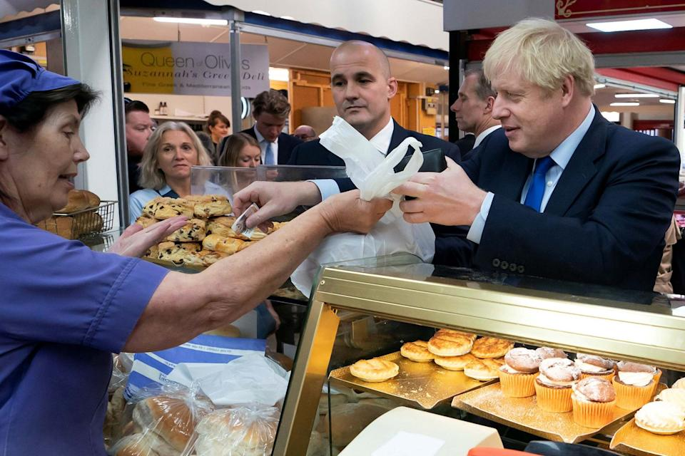 Boris Johnson as he chats with traders at Doncaster market. (AFP/Getty Images)