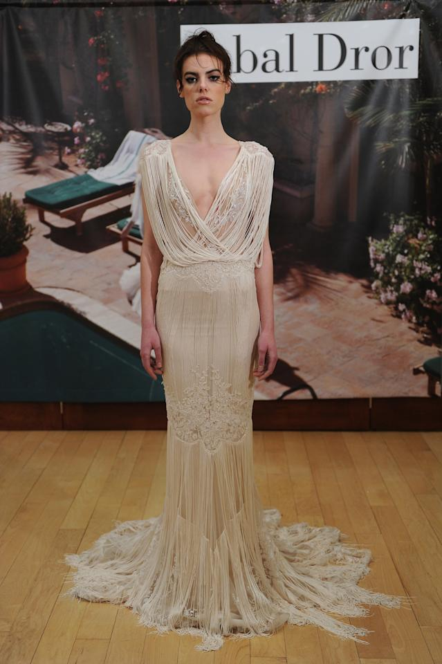 """<div class=""""caption-credit"""">Photo by: The Knot</div><div class=""""caption-title""""></div><b>3. This Ivory-Fringed Wedding Dress</b> If Daisy Buchanan from The Great Gatsby was a modern woman who loved going to Coachella, she'd definitely wear this Spring 2015 Inbal Dror fringe gown. <br>"""