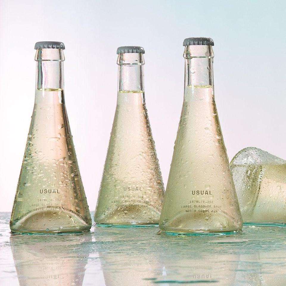 """<h2>Usual Wines Brut 12-Pack</h2><br>Instead of shipping a single bottle of champagne to cheers her from afar on the special day, go for an option that's a little more unique — aka a 6-pack of single-serving glass bottles filled with sparkling, small-batch, and sustainably farmed brut. <br><br><em>Shop<strong> <a href=""""https://usualwines.com/"""" rel=""""nofollow noopener"""" target=""""_blank"""" data-ylk=""""slk:Usual Wines"""" class=""""link rapid-noclick-resp"""">Usual Wines</a></strong></em><br><br><strong>USUAL</strong> Brut, Box Of 6 Glasses, $, available at <a href=""""https://go.skimresources.com/?id=30283X879131&url=https%3A%2F%2Fusualwines.com%2Fproducts%2Fbrut-wine"""" rel=""""nofollow noopener"""" target=""""_blank"""" data-ylk=""""slk:Usual Wines"""" class=""""link rapid-noclick-resp"""">Usual Wines</a>"""