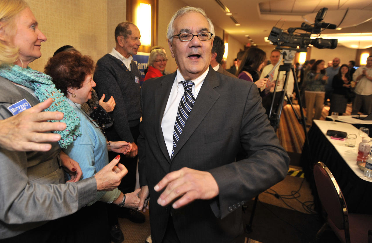 U.S. Rep. Barney Frank, D-Mass., greets supporters celebrating his re-election in the 4th Congressional District at a party in Newton, Mass Tuesday,Nov. 2, 2010. Frank faced Republican Sean Bielat in Tuesday's general election.