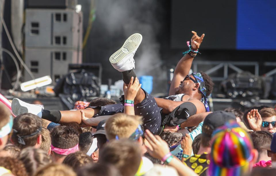 A man crowdsurfing during DJ 4B's set at Firefly Music Festival on Saturday June 22, 2019 in Dover.