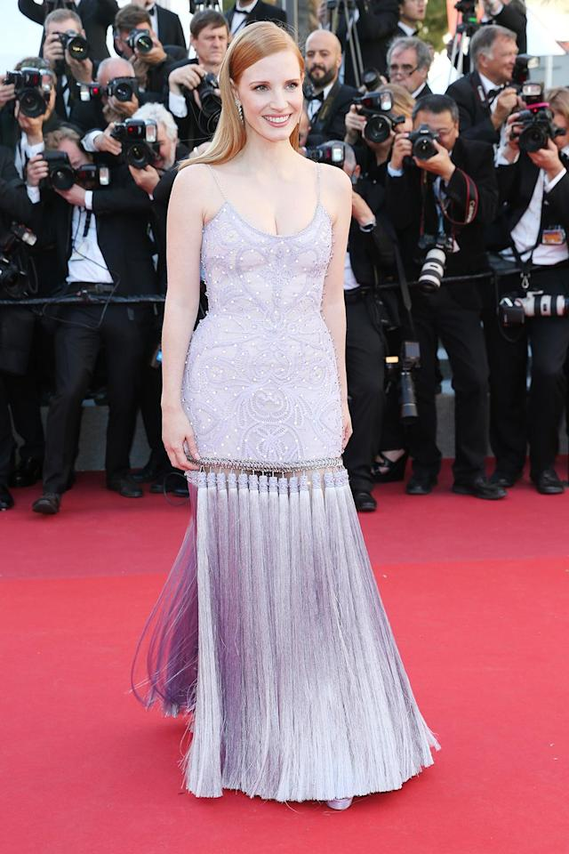 """<p>Jessica Chastain at the <a href=""""https://www.yahoo.com/movies/tagged/cannes-film-festival"""" data-ylk=""""slk:Cannes Film Festival"""" class=""""link rapid-noclick-resp"""">Cannes Film Festival</a> <a href=""""https://www.yahoo.com/movies/film/okja"""" data-ylk=""""slk:Okja"""" class=""""link rapid-noclick-resp""""><em>Okja</em></a> screening on May 19, 2017 (Photo: Gisela Schober/Getty Images) </p>"""