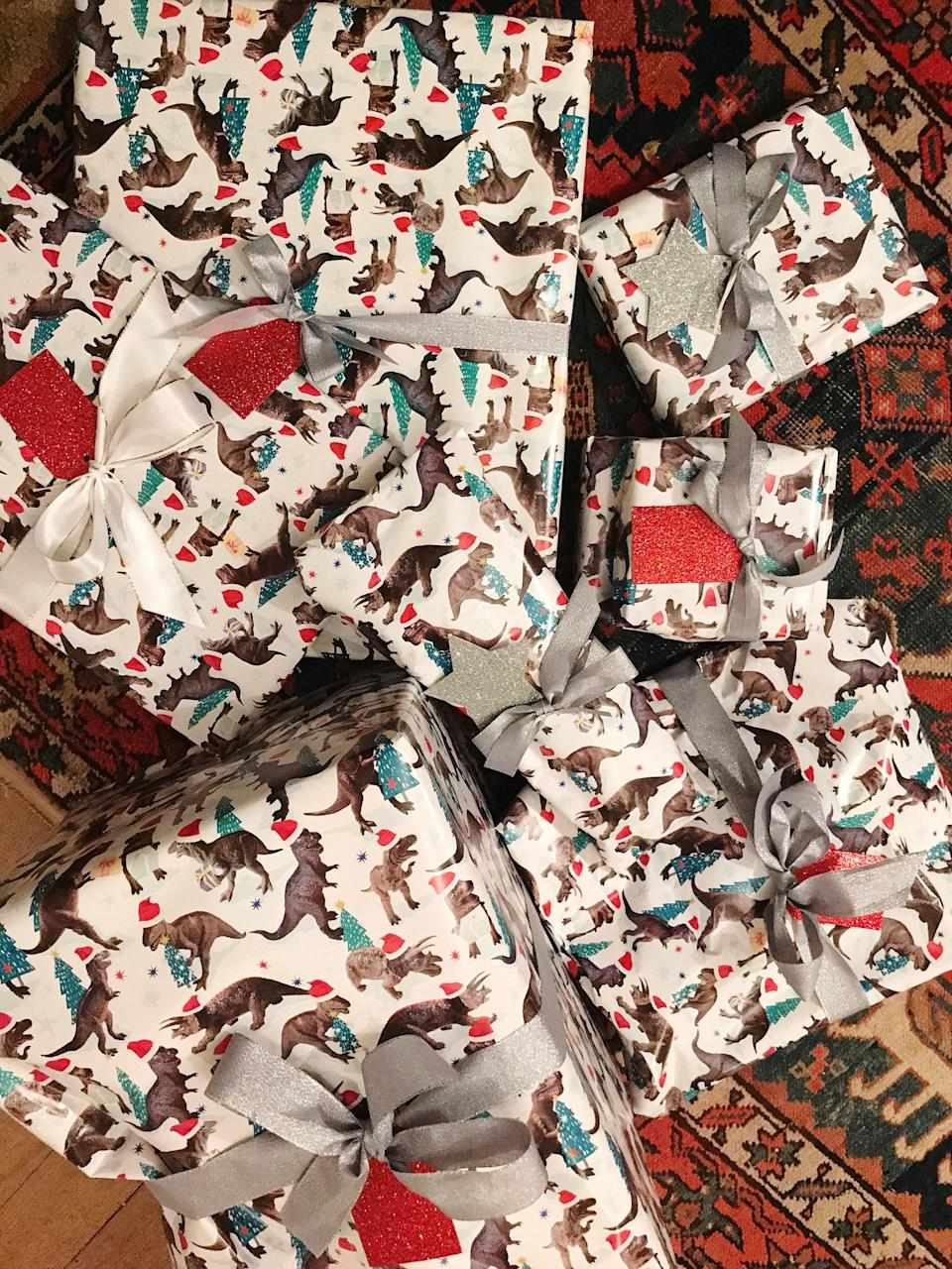 Some dinosaur wrapping for the boys this year.