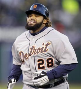 Prince Fielder could only smile after watching Crisp rob him of a possible home run. (AP)
