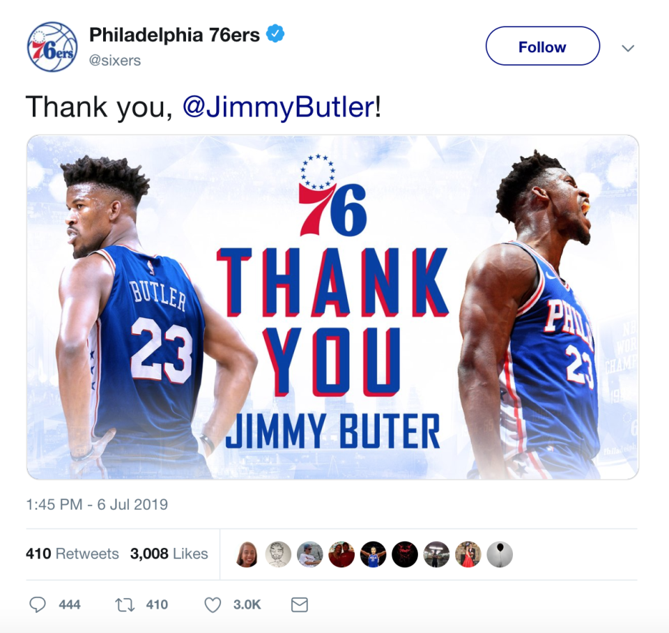 The 76ers meant to thank Jimmy Butler. Instead, they thanked Jimmy Buter.