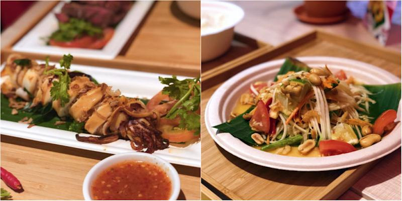 At left, the whole squid stuffed with tom yum fried rice. At right, young papaya salad. Photos: Coconuts Singapore