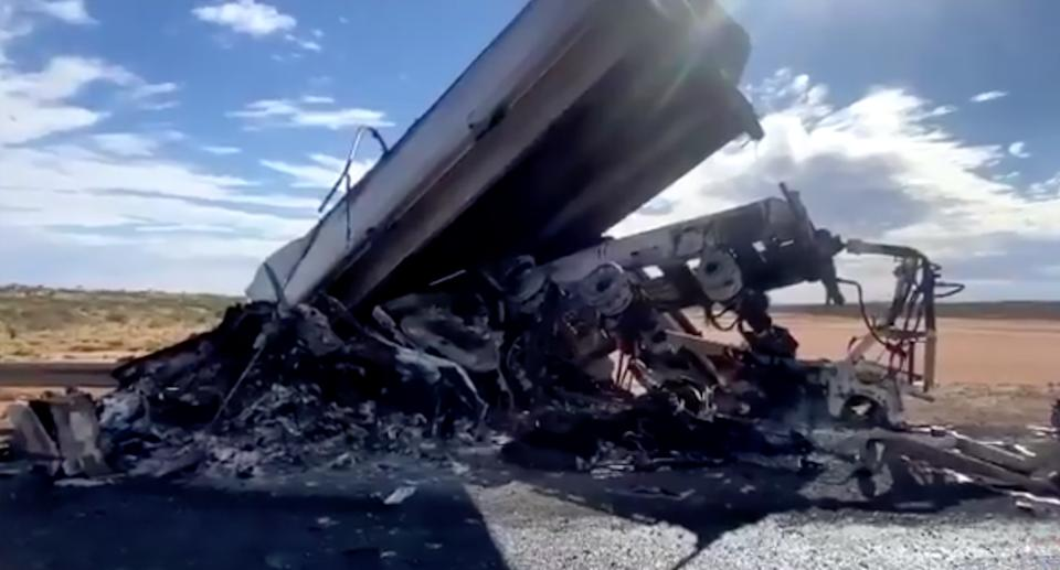 A destroyed b-double truck