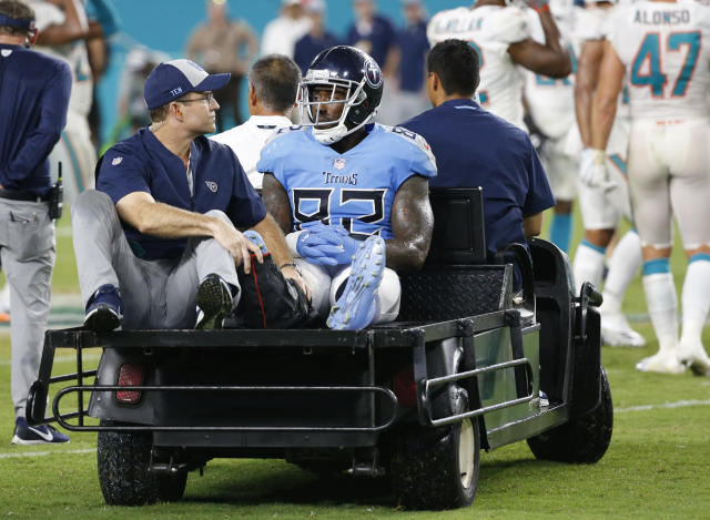 Delanie Walker dislocated his ankle in Week 1. (AP Photo/Wilfredo Lee)