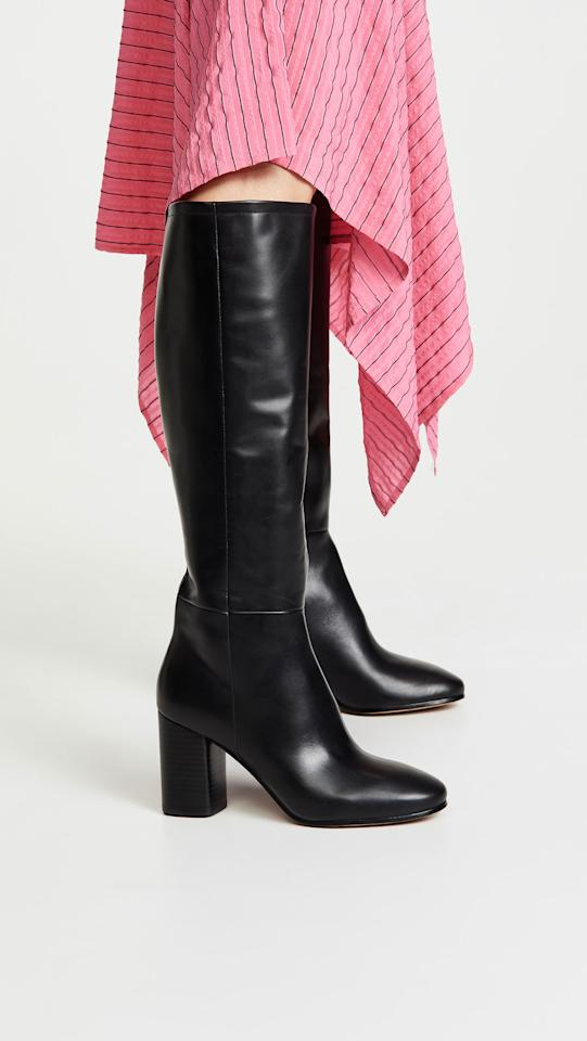 "<p>Every woman needs a pair of classic black leather boots in her wardrobe. Style them with a chunky knit sweater and midi skirt for the weekend or with an LBD for the office. <br /><a rel=""nofollow"" href=""https://fave.co/2QtxNA1""><strong>Shop it:</strong> </a>$249 (was $498), <a rel=""nofollow"" href=""https://fave.co/2QtxNA1"">shopbop.com</a> </p>"