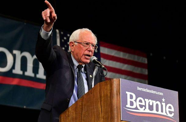 PHOTO: Democratic presidential hopeful and Vermont US Senator Bernie Sanders speaks on stage during a Town Hall event at the Aratani Theater in Los Angeles, California on July 25, 2019. (Frederic J. Brown/AFP/Getty Images)