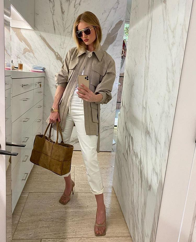 <p>As winter turns to spring, the supermodel has begun pairing beiges with white, mixing up textures like mesh, suede and denim.</p>