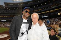 Kobe Bryant of the Los Angeles Lakers and Tommy Lasorda attend a game between the Los Angeles Dodgers and the New York Yankees on July 31, 2013 at Dodger Stadium in Los Angeles, Caifornia. (Photo by Jill Weisledero/Los Angeles Dodgers via Getty Images)
