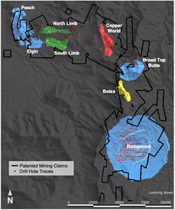 Hudbay has identified a total of seven deposits at the Copper World project through drilling completed in 2020 and 2021. The 2020 drill program defined the Copper World, Broad Top Butte, Peach and Elgin Deposits. The 2021 drill program increased the confidence in the size and quality of these known deposits and identified three new deposits called Bolsa, North Limb and South Limb, which indicates seven kilometres of continuous mineralization at the Copper World project.