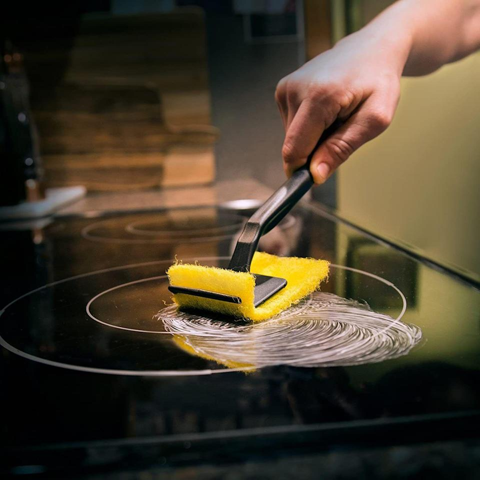 """So you canmake your ceramic cooktop look as shiny and flawless as the day you moved in.The kit comes with a bottle of cleaner, a cleaning pad and a heavy-duty scraper that are all designed to break down burnt-on foods and tough stains.<br /><br /><strong>Promising review:</strong>""""As soon as I used this stuff, I couldn't believe it!<strong>We had a new stove that I didn't clean for months and assumed the burnt pea juice (my enemy) would just be a new stain forever. However, after one application, it was basically gone.</strong>I used the scraper that came with it and did one more small application on just that spot, and it was gone! Every time I use this it looks like my stove could be brand-new."""" — <a href=""""https://www.amazon.com/gp/customer-reviews/R1ZRASCOVFOXR8?&linkCode=ll2&tag=huffpost-bfsyndication-20&linkId=bd0d43f460d63c8d41527018bfa64b7c&language=en_US&ref_=as_li_ss_tl"""" target=""""_blank"""" rel=""""noopener noreferrer"""">Christi Lambertson</a><br /><br /><strong><a href=""""https://www.amazon.com/dp/B000MIWRTM?&linkCode=ll1&tag=huffpost-bfsyndication-20&linkId=13ec23c8c76e305d62130a33c349ecfc&language=en_US&ref_=as_li_ss_tl"""" target=""""_blank"""" rel=""""noopener noreferrer"""">Get it from Amazon for $9.49.</a></strong>"""