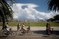 <p>Tourists on bicycles in Barcelona, Spain // August 8, 2017</p>