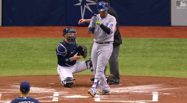 Salvador Perez gives the Tampa Bay ballboy a well-deserved round of applause. (MLB.com)