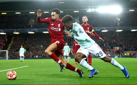 Trent Alexander-Arnold of Liverpool and Kingsley Coman of Bayern Munich - Credit: GETTY IMAGES