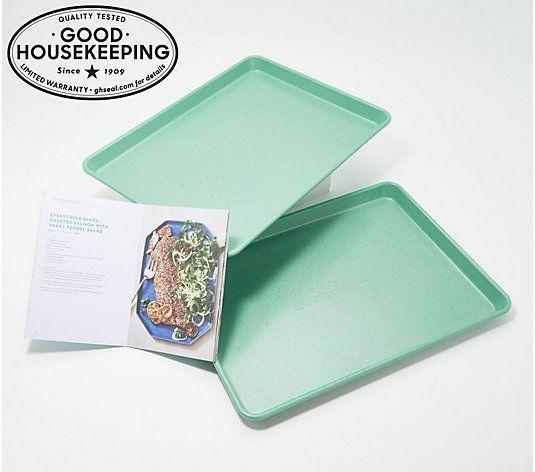 """<p><strong>Good Housekeeping</strong></p><p>qvc.com</p><p><strong>$38.25</strong></p><p><a href=""""https://go.redirectingat.com?id=74968X1596630&url=https%3A%2F%2Fwww.qvc.com%2FGood-Housekeeping-Better-Half-2-Aluminum-Sheet-Pans.product.K50812.html&sref=https%3A%2F%2Fwww.countryliving.com%2Fshopping%2Fgifts%2Fg2077%2Fchristmas-presents%2F"""" rel=""""nofollow noopener"""" target=""""_blank"""" data-ylk=""""slk:Shop Now"""" class=""""link rapid-noclick-resp"""">Shop Now</a></p><p>Because these were created by a very trusted brand, you can rest assured that you'll be gifting good quality bakeware that also looks nice! </p>"""