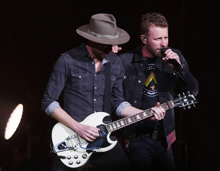 Dierks Bentley, right, performs during his Burning Man 2019 tour in Fresno, California.