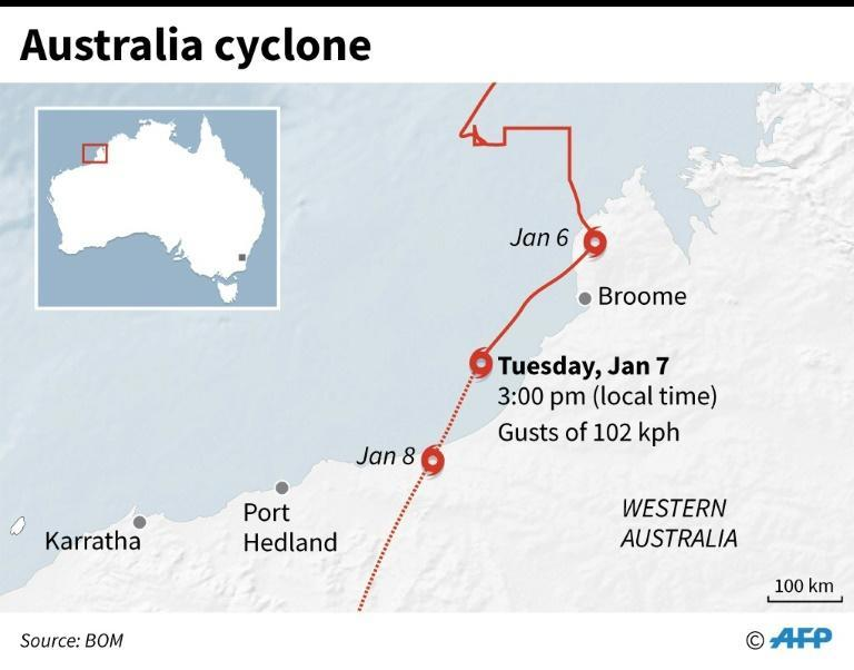 Map of northwestern Australia, showing the path of Cyclone Blake as of Tuesday