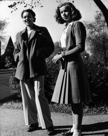 <p>Schoolgirl-inspired fashions capture the best of both worlds at the time—pants and skirts, and never without a cardigan. </p>