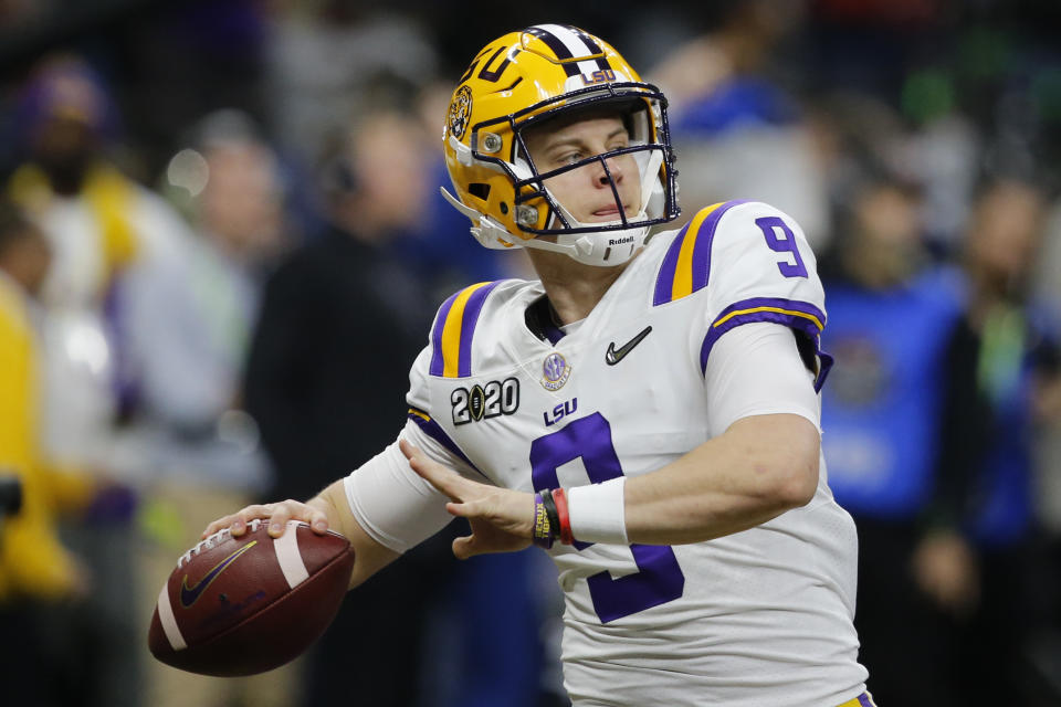 LSU quarterback Joe Burrow is likely to be the first pick of the draft. (AP Photo/Gerald Herbert)