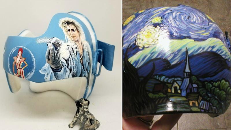 Two of the artist's most difficult designs included David Bowie (left) and a recreation of the famous Starry Night (right) painting by Vincent van Gogh. Source: Lazardo Art Source: Lazardo Art