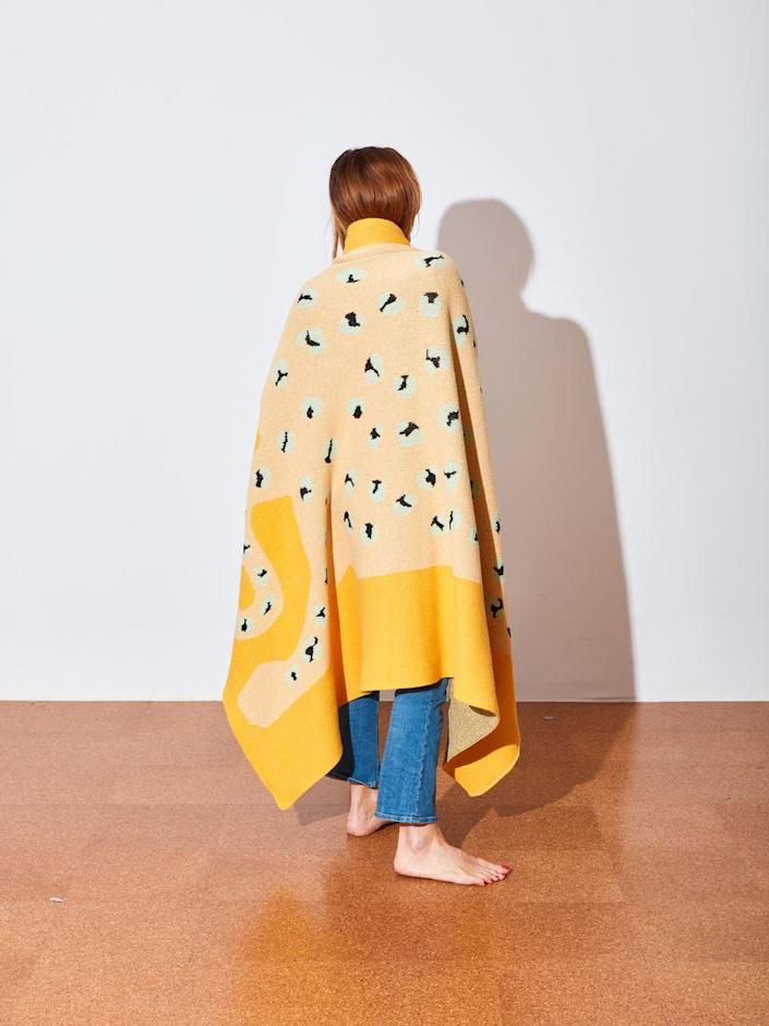 """No leopards were harmed in the making of this Cold Picnic blanket, crafted of a cotton-poly blend in the U.S. $200, Coming Soon. <a href=""""https://comingsoonnewyork.com/products/leopard-knit-blanket"""" rel=""""nofollow noopener"""" target=""""_blank"""" data-ylk=""""slk:Get it now!"""" class=""""link rapid-noclick-resp"""">Get it now!</a>"""