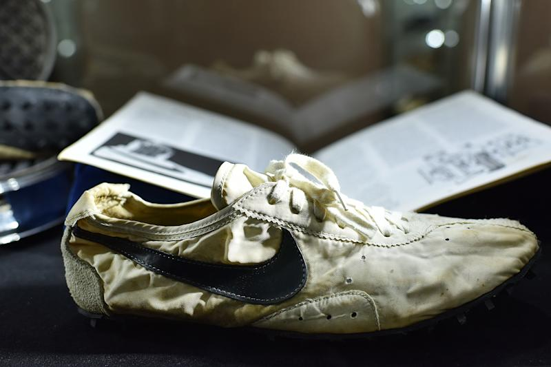 The unworn pair of 1972 Nike Waffle Racing Flat 'Moon Shoes' on display at Sotheby's [Photo: PA]