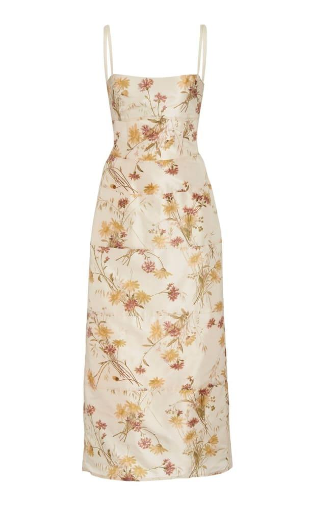 """<p>Brock Collection Floral-Print Silk Square Neck Dress, $1,660, <a href=""""https://rstyle.me/+wO65dPg4wWQveZRqVlHqow"""" rel=""""nofollow noopener"""" target=""""_blank"""" data-ylk=""""slk:available here"""" class=""""link rapid-noclick-resp"""">available here</a> </p>"""