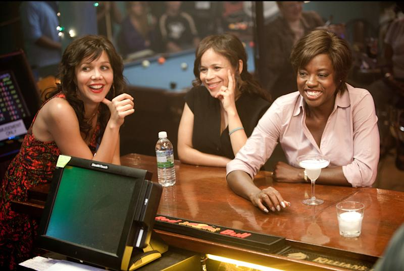 """This film image released by 20th Century Fox shows Maggie Gyllenhaal, left, Rosie Perez and Viola Davis, right, in a scene from """"Won't Back Down."""" (AP Photo/20th Century Fox, Kerry Hayes)"""