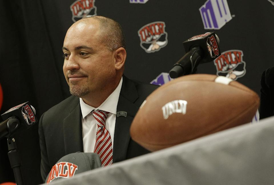 Tony Sanchez speaks during his introductory UNLV press conference. (AP)