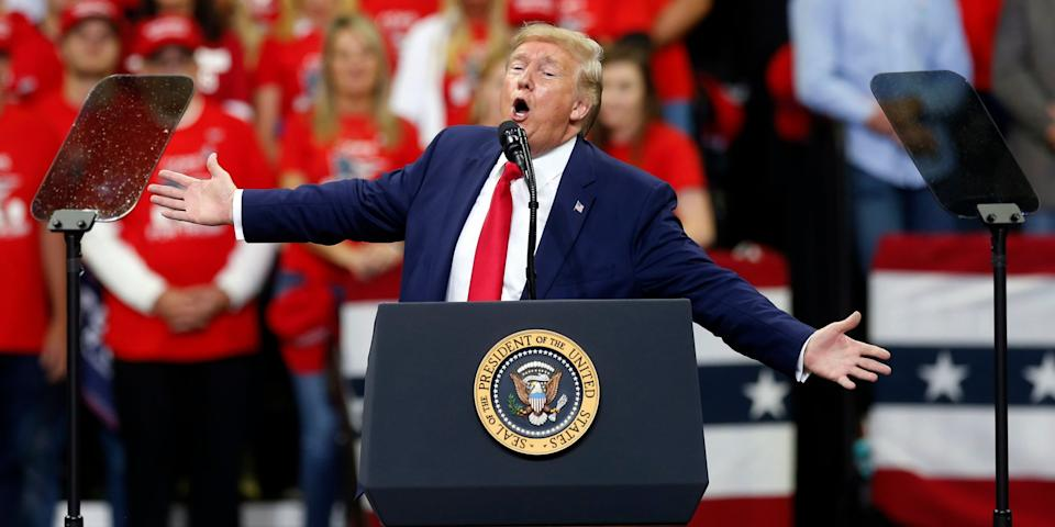President Donald Trump speaks at a campaign rally Thursday, Oct. 10, 2019, in Minneapolis. (AP Photo/Jim Mone)