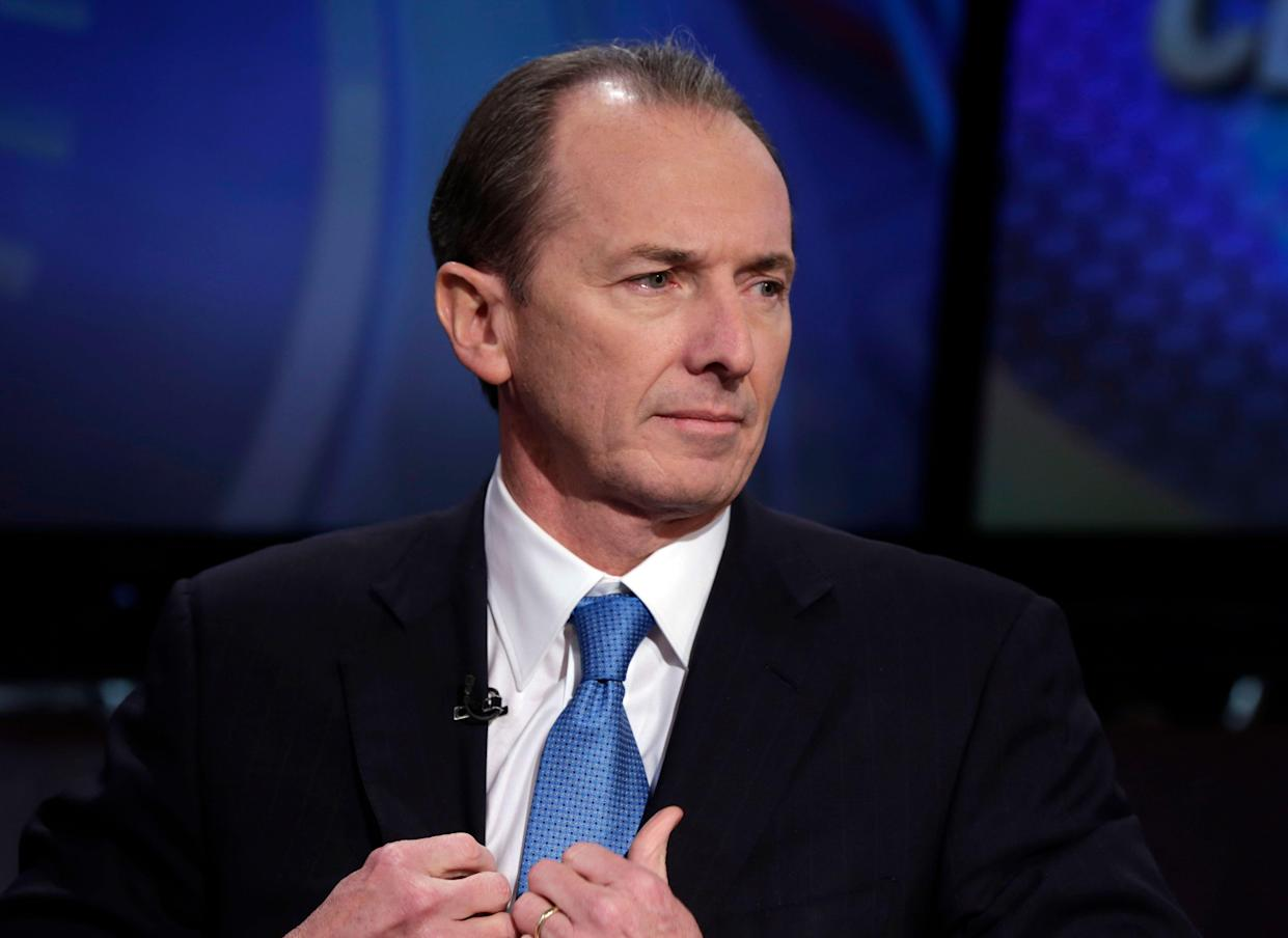 Morgan Stanley CEO James Gorman is interviewed by Senior Correspondent Charlie Gasparino on the Fox Business Network, in New York, Friday, Jan. 18, 2013. Profits roared back at the investment bank Morgan Stanley in the fourth quarter, reversing a loss in the same period a year ago, when its results were weighed down by a costly legal settlement. (AP Photo/Richard Drew)