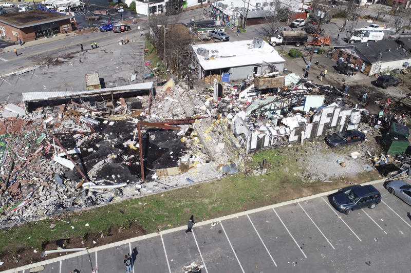 In this aerial image damage is seen in Nashville, Tennessee.