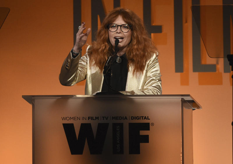 Natasha Lyonne presents the entrepreneur in entertainment award at the Women in Film Annual Gala on Wednesday, June 12, 2019, at the Beverly Hilton Hotel in Beverly Hills, Calif. (Photo by Chris Pizzello/Invision/AP)