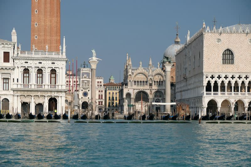 Empty St. Mark's Basin and Square are seen in Venice on the second day of an unprecedented lockdown across of all Italy imposed to slow the outbreak of coronavirus