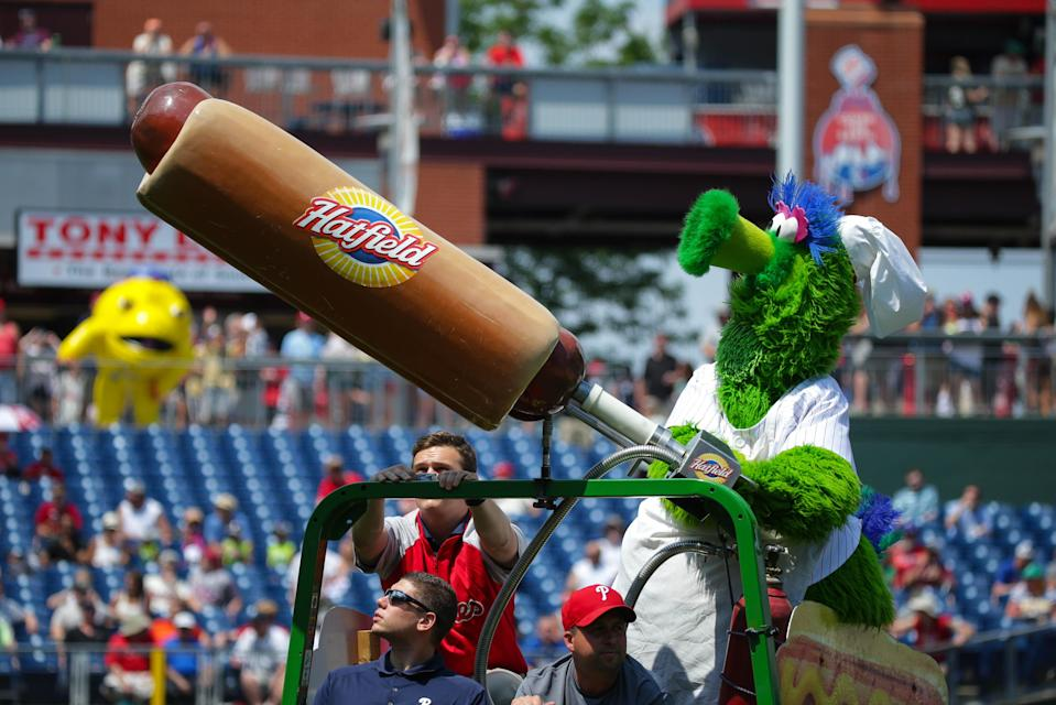 A Phillies fan was hit in the face by a flying hot dog from the Phanatic's iconic hot dog gun on Monday night at Citizens Bank Park, and was sent to the hospital. (Getty Images)