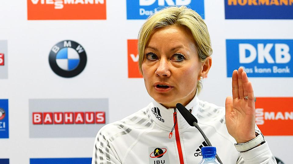 Former IBU general secretary Nicole Resch is pictured here speaking at a press conference.