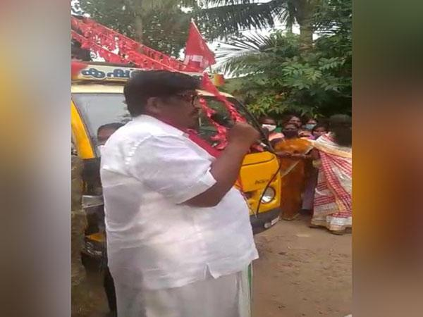 CPI(M) candidate Krishnakumar who won from Haripad in Kerala's Alappuzha district in the recently concluded local body polls. (Photo/ANI)