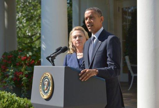 President Barack Obama, joined by Secretary of State Hillary Clinton